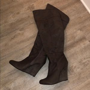 Thigh High Brown Suede Wedge Boots